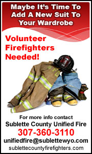 Volunteer firefighters needed with Sublette County Unified Fire.
