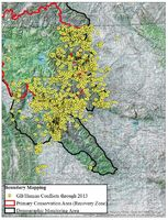 Grizzly bear conflicts in the Upper Green during 2013.