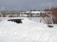 Buried car in Pinedale.  Pinedale Online file photo.
