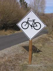 Sign along bike path near Pinedale. Pinedale Online photo.